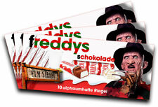 3x Aufkleber FREDDY KRÜGER (Motiv 1) für Kinderschokolade (Geschenk, Gadget)