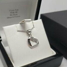 White gold finish heart created diamond pendant necklace valentines gift idea
