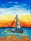 Hawaii Sailboat Textured Oil Painting Sea Sunset Tropical Seascape Boat Wall Art