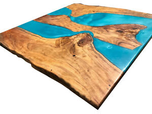 Square Wooden Epoxy Resin River Coffee Table Top Natural Wooden Hallway Decorate