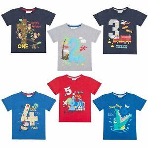 Boys Novelty Birthday I Am 1 2 3 4 5 6 Age Number T Shirt Short Sleeve Top Kids