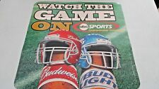 "Vintage 2002 16"" x 16"" ABC SPORTS Budweiser Bud Light Beer Promo FOOTBALL POSTER"