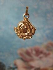 Vintage Catholic Medal St. Therese Lisieux Gold Finish Rose 21mm  pendant