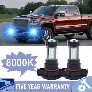 LED Fog Lights For GMC Sierra 1500 2500 3500 2007-17 H16 5202 100W 8000K Bulb 2x