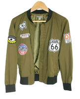 Womens Juniors Casting LA Small Olive Army Green Bomber Jacket Patches Route 66