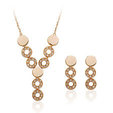 ITALINA 18K ROSE GOLD PLATED & GENUINE CLEAR CUBIC ZIRCONIA JEWELLERY SET