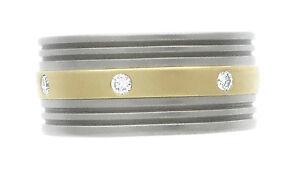 18K Yellow Gold And Titanium Natural Round Diamond Band Sz 7.25 0.25 Ct GH VS