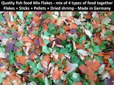 Mix Flakes food fish 4 types food together Flakes+Sticks+Pellets+Dried shrimp