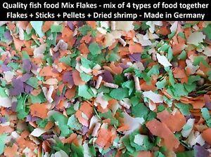 Mix Flakes food fish 4 types food together Flakes+Sticks+Pellets+Dried shrimp
