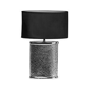 Regents Park Ceramic Table Lamp Hammered Chrome Effect Black Desk Living Decor