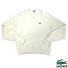 Vintage Izod Lacoste Mens L Long Sleeve V-Neck Sweater Acrylic White