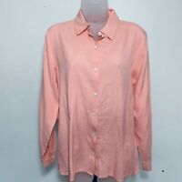 J Jill Blouse Size S 100% Silk Collared Long Sleeves Soft Work Casual Pink