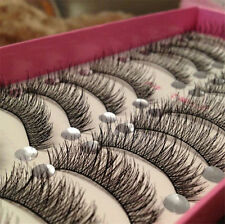 10Pairs Handmade Black Long Thick Cross Beauty Party Makeup Fake False Eyelashes
