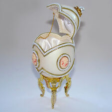 Oeuf en coquille avec camée style Faberge, oeuf écrin à bijoux avec camee