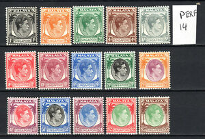 SINGAPORE MALAYA STRAITS SETTLEMENTS 1948 KGVI COMPLETE SET OF MNH STAMPS UN/M