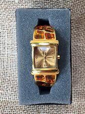 Joan Rivers Classics Collection Tortoise Shell Gold-tone Cuff Bracelet Watch