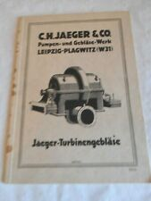 Vintage catalogue C.H.Jaeger & Co turbine pumps 1930s