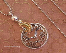 """Antiqued Silver Clock Gold Moon Charm 2 pc Pendant 31"""" Long Ball Chain Necklace"""