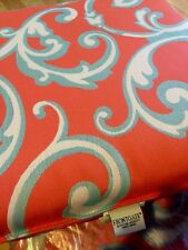 "Frontgate Orange Blue Outdoor Dining Cushion 19x19.5"" Knife Edge Large New Set/6"
