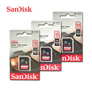 SanDisk Ultra Class10 UHS-I SD 16GB 32GB 64GB 80-100MB/s SDHC SDXC Memory Card