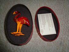 Fitz and Floyd Glass Menagerie Flamingo red yellow orange feet beak original box