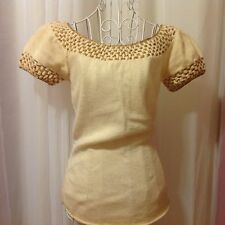 VINTAGE 1940's Knit Blouse in Cream and Gold Sz S/M