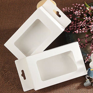 30x Fold White Cardpaper Clear Window Hang Hole Box Soap Candy Wedding Gift Toy