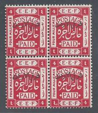JORDAN 1920 FOUR MILS DOUBLE VARIETY DISPLACED OVPT AT TOP & ARABIC 40 INSTEAD
