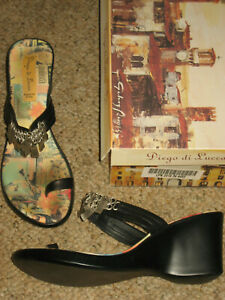 NEW Diego Di Lucca womens wedge sandals 8 flip flop black leather sandal