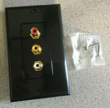 Standard 3 RCA Jack Wall Plate Composite Stereo Audio Video Black w/ Screws