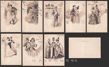 H. WEBER Illustratore - MODA 1800 - 1900 SERIE COMPLETA di 8 Cartoline