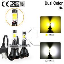 Pair H4 9003 HB2 LED Fog Light Bulb Hi/Lo Beam Dual Color White Yellow 12V