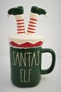 Rae Dunn Holiday Christmas SANTA'S ELF Green Mug with ELF Leg Topper - HTF 2020