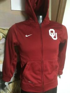 NWT new NIKE Therma-Fit OU Oklahoma Sooners HOODIE Zip Jacket GIRLS Youth S M L
