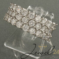 Damen Pave-Ring echt Silber 925 Sterling rhodiniert mit Diamonique 50/15,9 mm