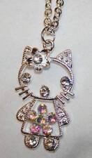 Delightful Aurora Borealis Crystal Rhinestone Hello Kitty Silvertone Necklace