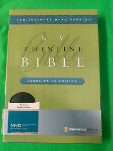 NIV, Thinline Bible, Large Print, Bonded Leather, Black, Indexed, Red Letter ...