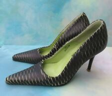 Paloma Barcelo Black Green Leather Pointed Toe Pumps Wms 38 US 7 SPAIN