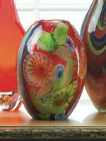 """red blue green carnival 9"""" Handmade HEAVY modern art Glass Sculpture Flower VASE"""