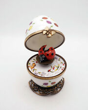 Plays Music New Lady Bugs Egg French Limoges Trinket Box Lady Bug OpenWings Key