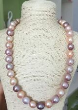 """gorgeous  12-13mm round south sea multicolor  pearl necklace18"""""""