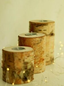 3 Rustic Eco Silver Birch Wood Tea Light  Candle Holders Christmas Lights Gift