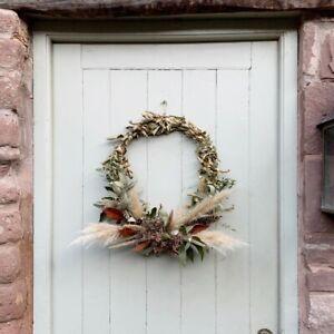 Handmade Autumn Winter Xmas Door Wreath, Dried Pampas Grasses Fern & Red Leaves