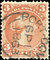 Used PORT-DOVER Canada F+ Scott #25 3c EARLIER DATE 1868 Large Queen Stamp