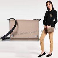 NWT 🌼 Calvin Klein Saffiano Leather Susan Flap Over Small Crossbody Beige Black