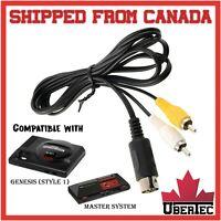 RCA Cable For Sega Genesis Version Model 1 One & Master System AV Composite Cord