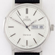 Omega Stainless Steel Men's Automatic Geneve Watch w/ Day and Date #1022