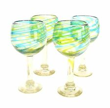 Set/4, Recycled Globe Wine Glasses,Aqua & Lime Swirls-12-14 oz