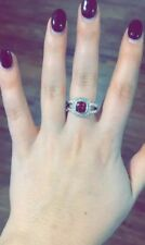 David Yurman Sterling Silver Albion Petite Ring with Garnet Size 6