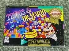 SEALED NEW Tetris & Dr. Mario NTSC North American SNES box factory nib shrink 2